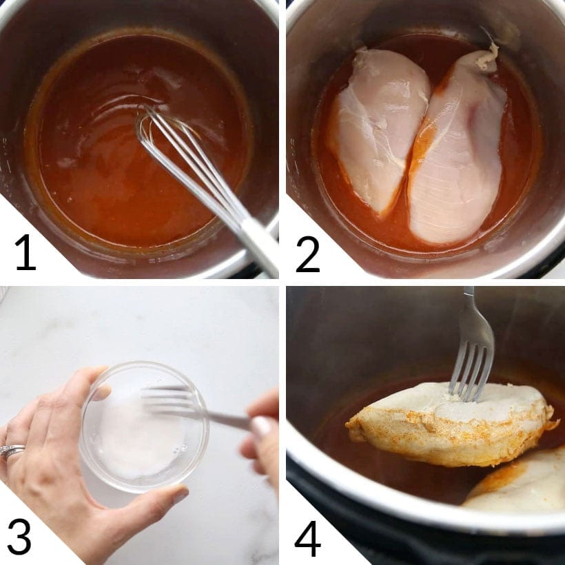 collage illustrating steps to make Instant Pot Buffalo Chicken