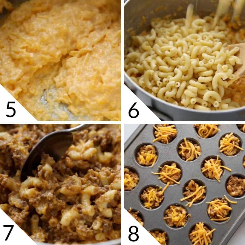 collage illustrating last four steps to make Chili Mac and Cheese bites