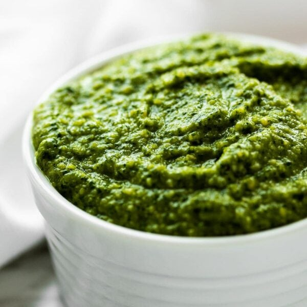 cashew pesto in a white bowl