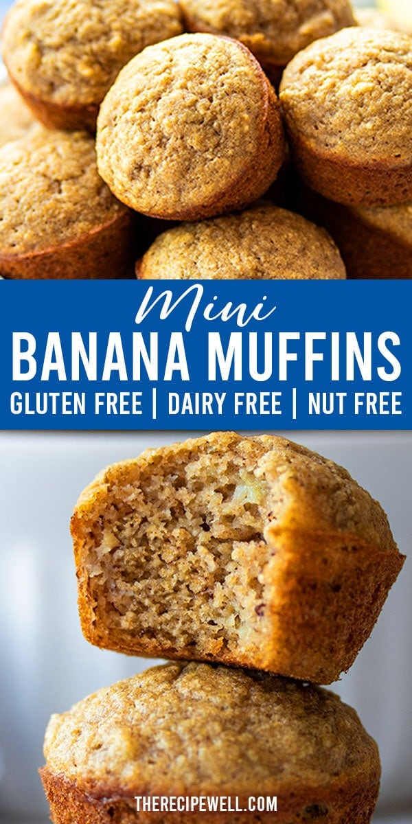 These Gluten Free Banana Mini Muffins are quick and easy! Perfect for school lunches, a healthy snack or on-the-go breakfast. FOLLOW The Recipe Well for more great recipes!  #schoollunchideas #healthysnack #glutenfree #nutfree #dairyfree  via @therecipewell