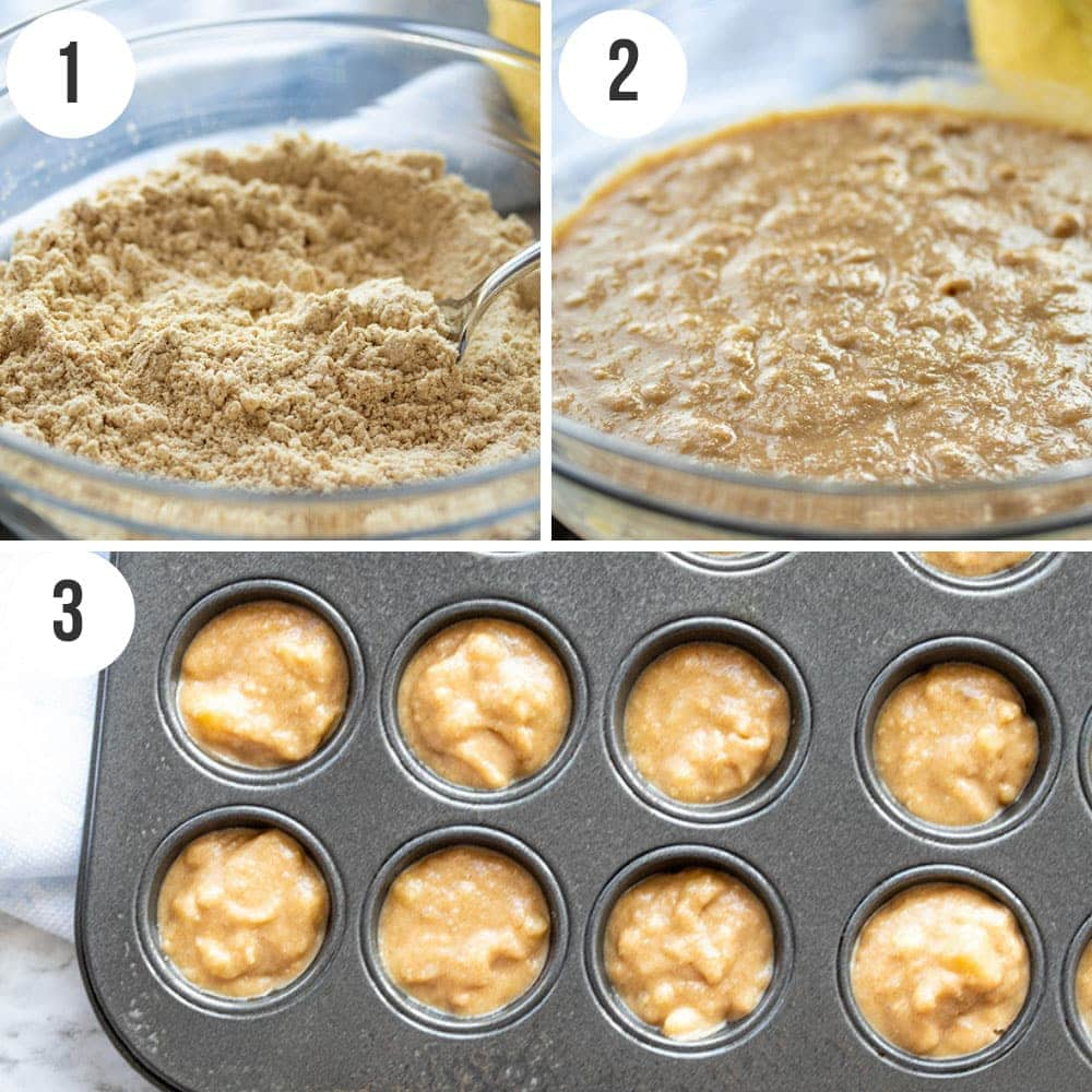 A photo collage showing the key steps to make gluten free banana mini muffins