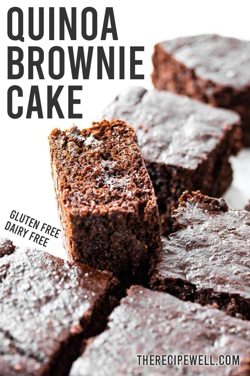 This Quinoa Brownie Cake is the solution to any chocolate craving. This cake is gluten free, dairy free and never turns out dry. Keep it in your fridge for a quick, better-for-you treat!  #quinoadessert #healthydessert #glutenfree #dairyfree #chocolatesnack via @therecipewell