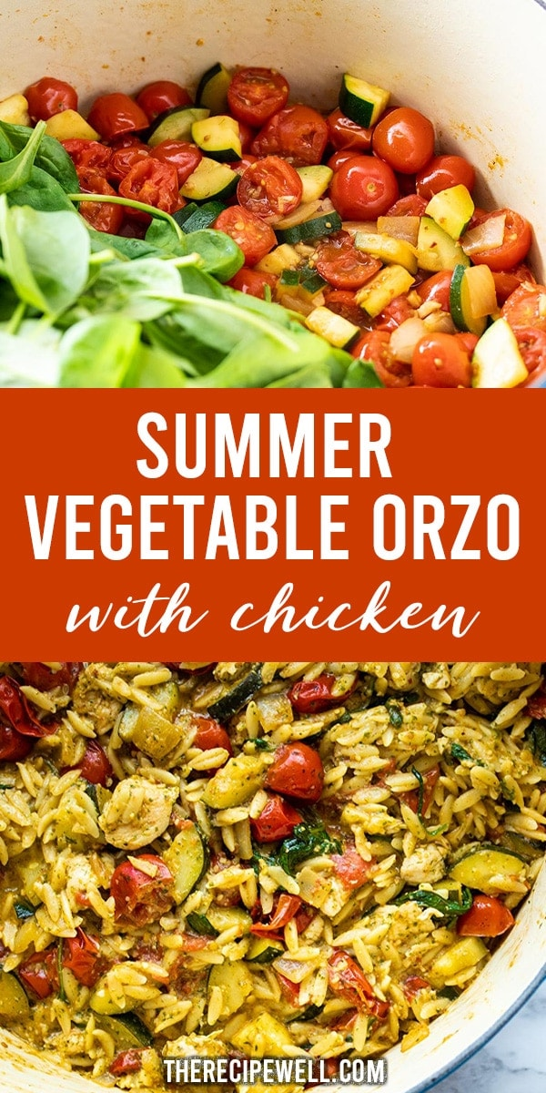 Summer Vegetable Orzo with Chicken is an easy meal packed full of vegetables and amazing pesto flavour! Cherry tomatoes, zucchini and spinach pair beautifully with pesto and sautéed chicken. This is the perfect, healthy weeknight meal!  #easydinner #weeknightdinner #pesto #chickenandvegetables #easypasta via @therecipewell