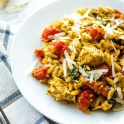 summer vegetable orzo with chicken on a white plate garnished with parmesan