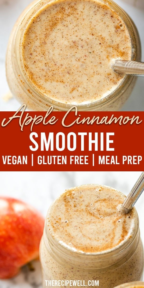 This Apple Cinnamon Smoothie is the perfect way to start a busy fall morning. With ingredients like almond butter, hemp hearts, chia seeds and rolled oats, this smoothie is filled with protein and healthy fats. You'll be satisfied until lunch! FOLLOW The Recipe Well for more great recipes!  #breakfast #mealprep #healthy #protein #vegan #vegetarian #easy via @therecipewell