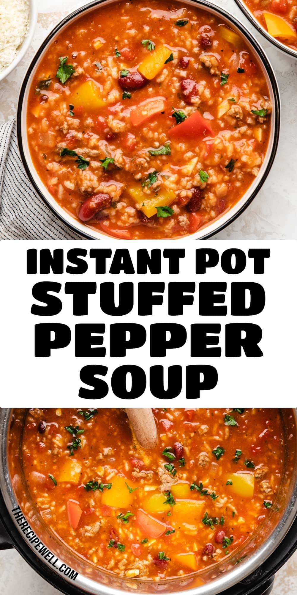 Instant Pot Stuffed Pepper Soup tastes just like stuffed peppers, but it's way easier to make! Made with bell peppers, ground chicken, rice and beans, this soup is a satisfying one-pot family meal. FOLLOW The Recipe Well for more great meal ideas! #healthysoup #instantpot #dinner #lunch #mealprep via @therecipewell