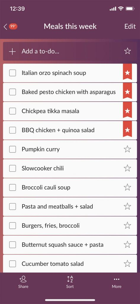 iPhone screen capture of a list of meal ideas in the Wunderlist app