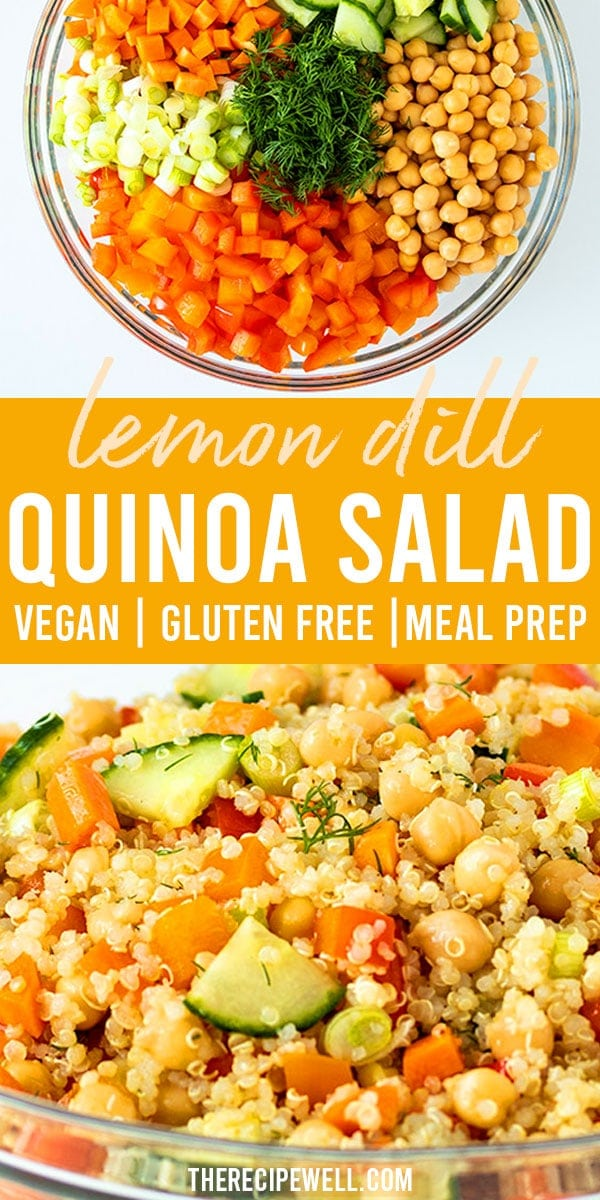 This quinoa chickpea salad is like summer in a bowl and comes together in less than 30 minutes! Perfect for meal prep, potlucks and a side dish during BBQ season. FOLLOW The Recipe Well for more great recipes!  #mealprep #lunch #dinner #vegan #30minutemeal #glutenfree #potluck via @therecipewell
