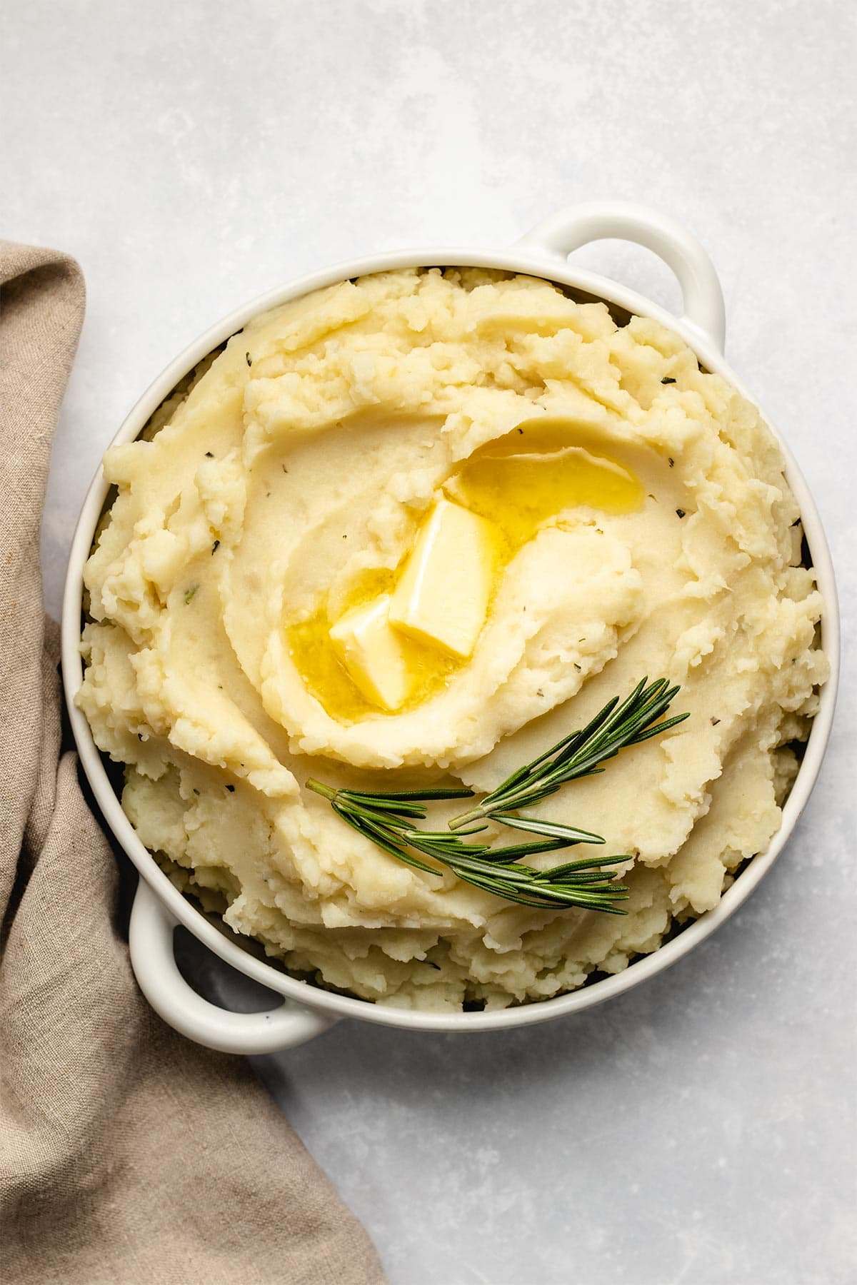 Garlic Rosemary Mashed Potatoes in a white bowl