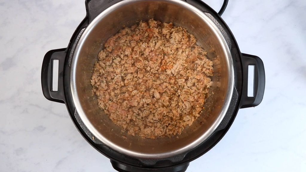 browned ground turkey and spices in an Instant Pot