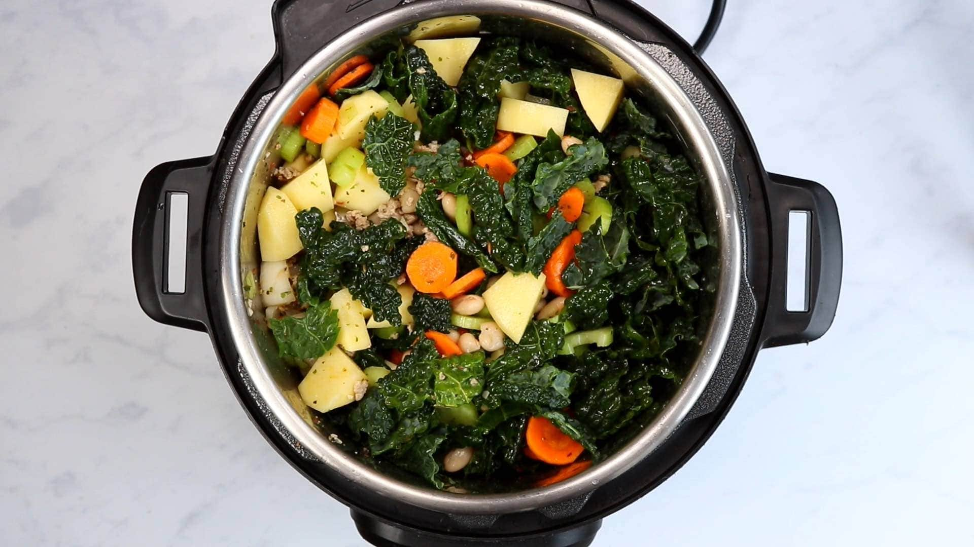 turkey, broth, onion, garlic, kale, potatoes, carrot, celery and white beans in an Instant Pot