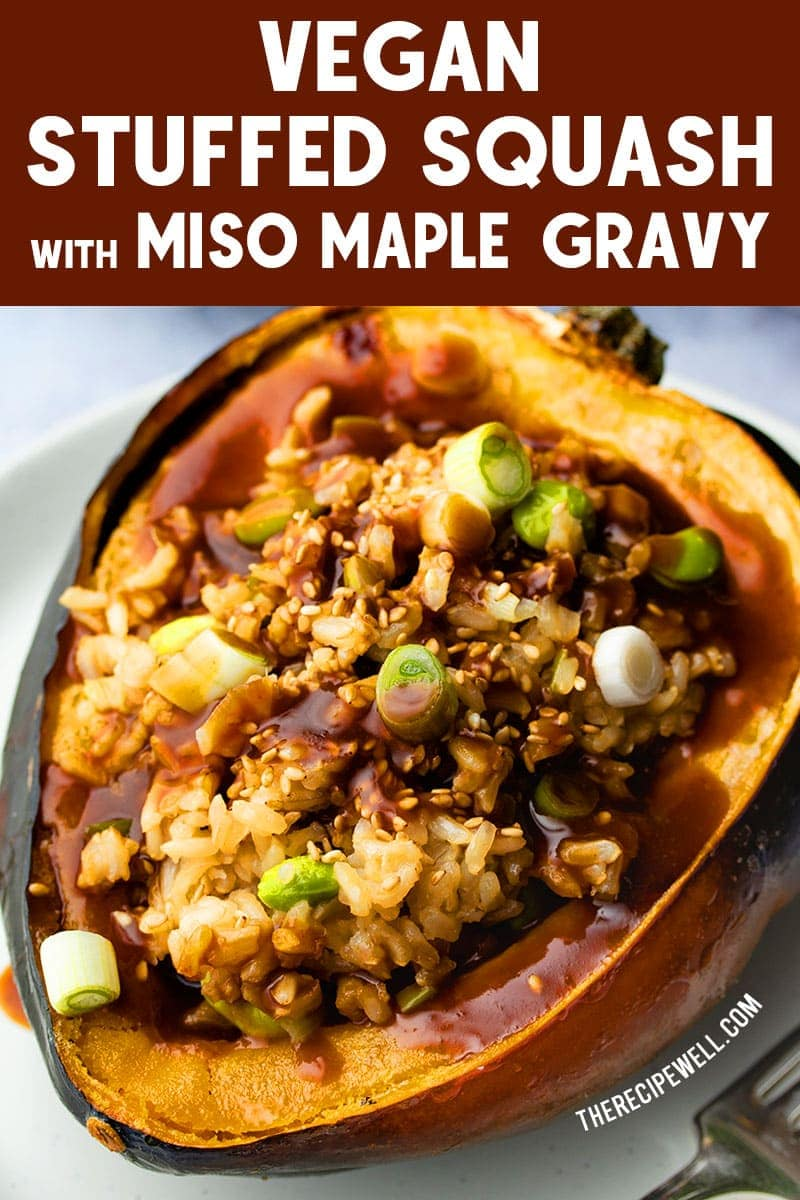 Impress your vegan and vegetarian guests with this beautiful Vegan Stuffed Squash with Miso Maple Gravy. Perfect as a vegan option at a holiday gathering or dinner party! FOLLOW The Recipe Well for more great recipes!  #vegan #vegetarian #maindish #holiday #Thanksgiving #Christmas #acornsquash via @therecipewell