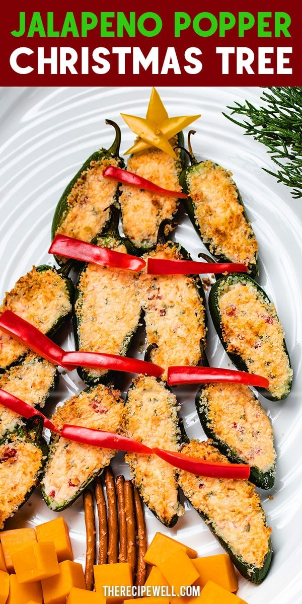 Get fun and festive with your jalapeño poppers this holiday season and serve them as a Christmas Tree! The poppers require just a handful of ingredients and the tree is so easy to pull together with a pretzel stick trunk, cubed cheddar cheese gifts and bell pepper ornaments. FOLLOW The Recipe Well for more great ideas!  #baked #holiday #Christmas #appetizer #creamcheese #panko #festive via @therecipewell