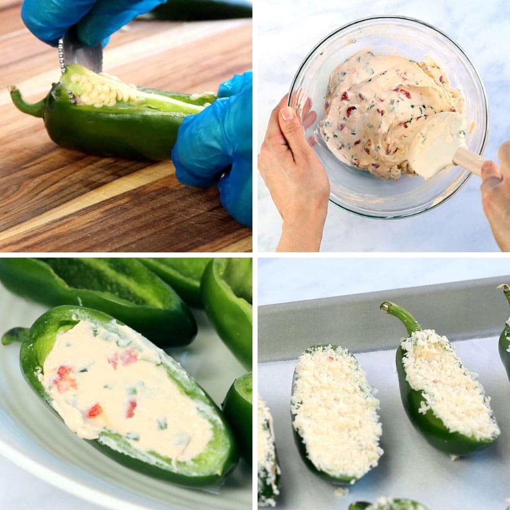 4 photos illustrating the steps to make jalapeno poppers