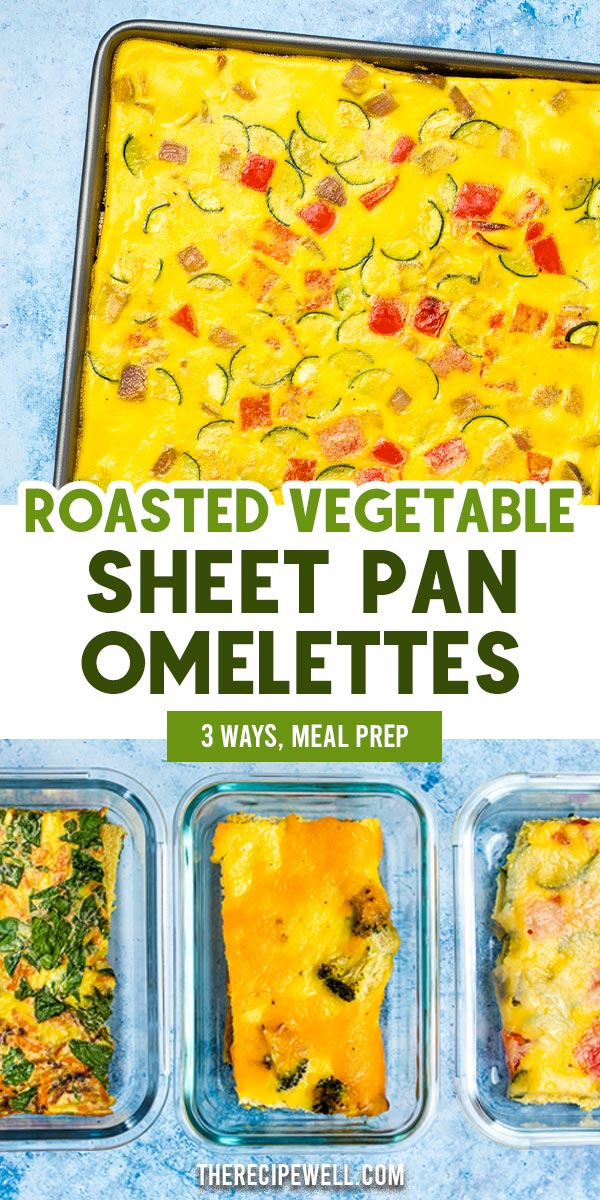 Roasted Vegetable Sheet Pan Omelettes are the easiest way to prepare omelettes for a crowd or for meal prep! These meal prep eggs are a delicious way to add vegetables to your breakfast. Try all three flavour combinations! FOLLOW The Recipe Well for more great recipes!  #mealprep #breakfast #healthy #vegetarian #eggs #easy #glutenfree via @therecipewell