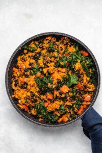 Southwest Sweet Potato, Kale and Black Bean Skillet