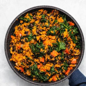 Southwest Sweet Potato, Kale and Black Bean Skillet