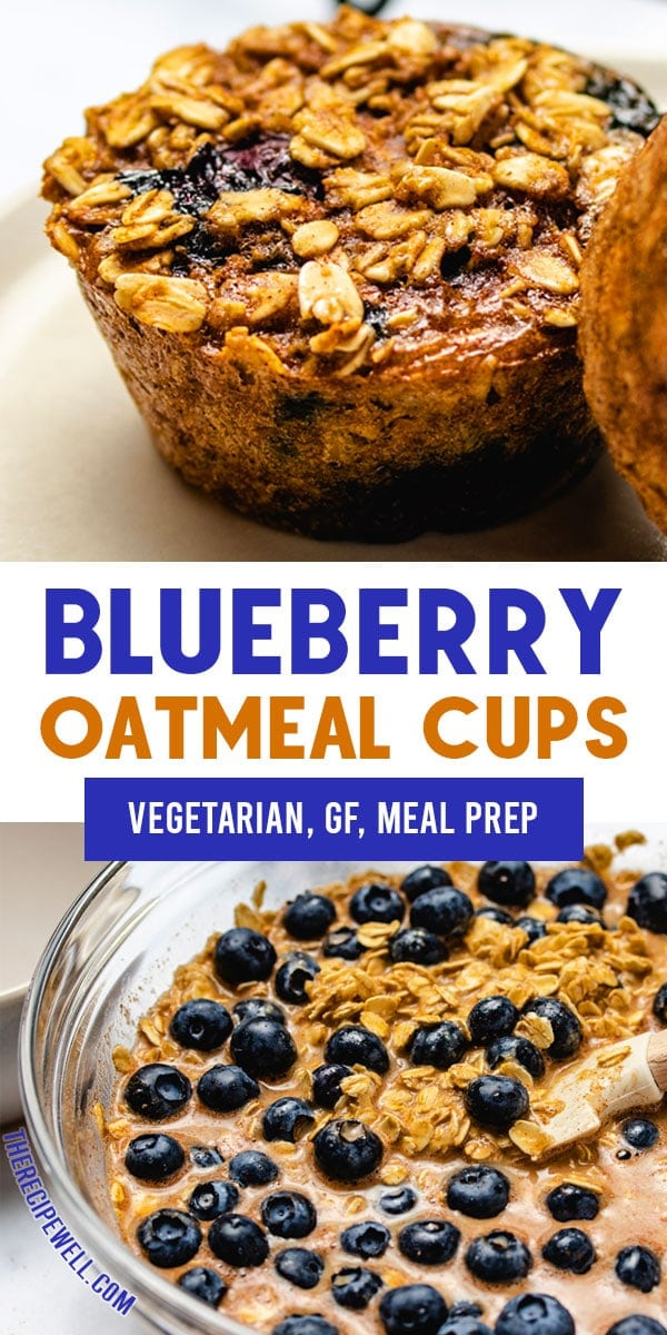 Have your oatmeal on the go with these Blueberry Oatmeal Cups! Sweetened with maple syrup and bursting with flavour from juicy fresh blueberries, you will love this healthy meal prep breakfast! FOLLOW The Recipe Well for more great recipes!  #breakfast #mealprep #healthy #easy #baked #vegetarian #dairyfree via @therecipewell