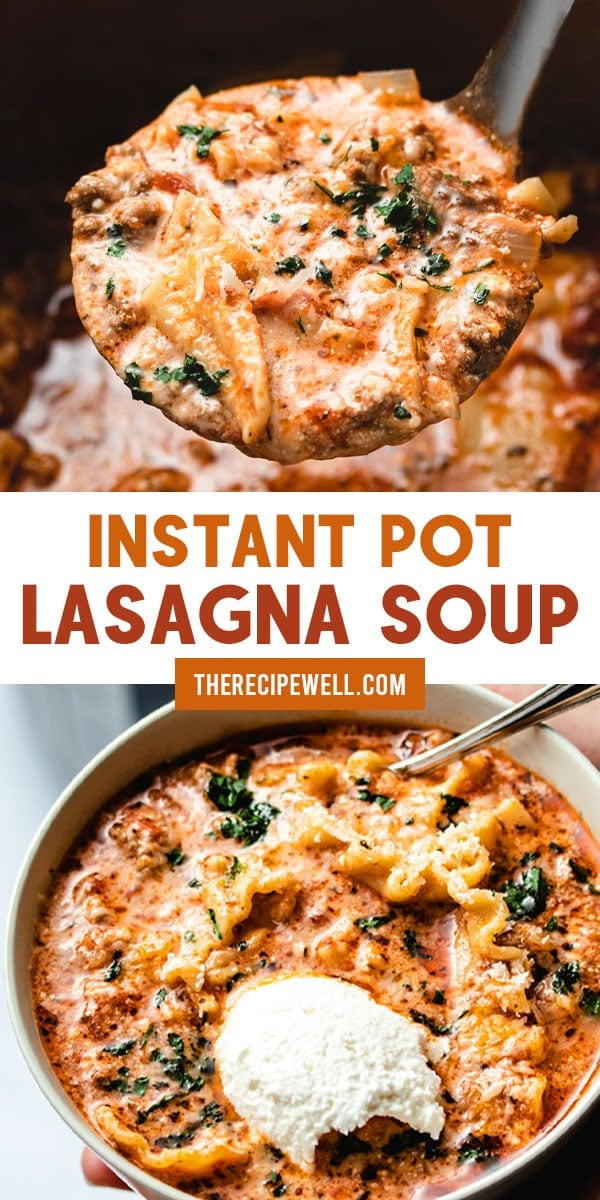 Instant Pot Lasagna Soup is the ultimate comfort food. Made with ground beef or turkey and three different types of cheese, this mouthwatering soup is a crowd pleaser! FOLLOW The Recipe Well for more great recipes!  #easy #simple #dinner #comfortfood #cheesy #spaghettisauce  via @therecipewell