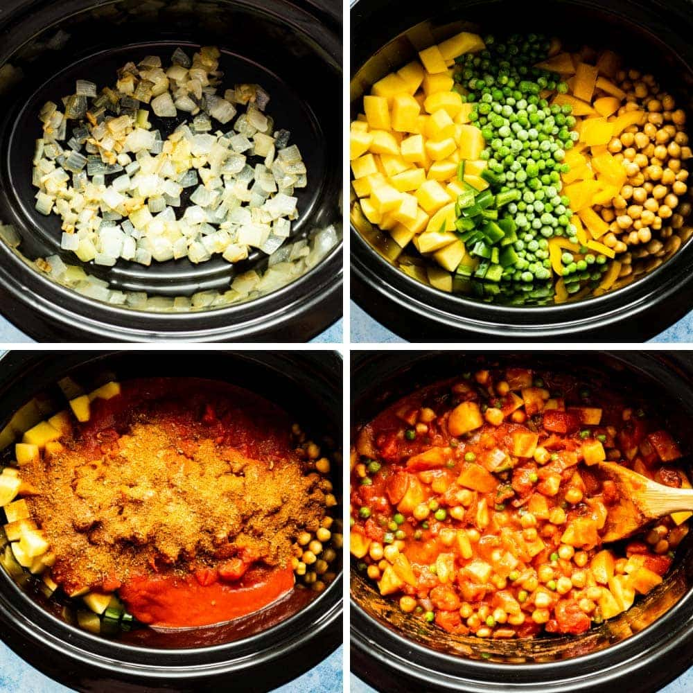 a four-photo collage showing the layering of ingredients for the vegan slow cooker tikka masala