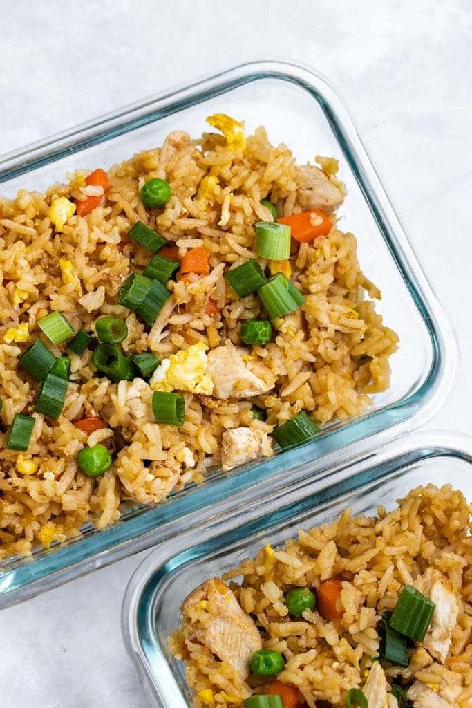 Chicken Fried Rice in two glass meal prep containers