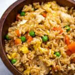 Chicken Fried Rice in a wooden bowl