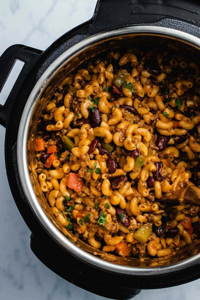 Chili mac and cheese in an Instant Pot viewed from overhead