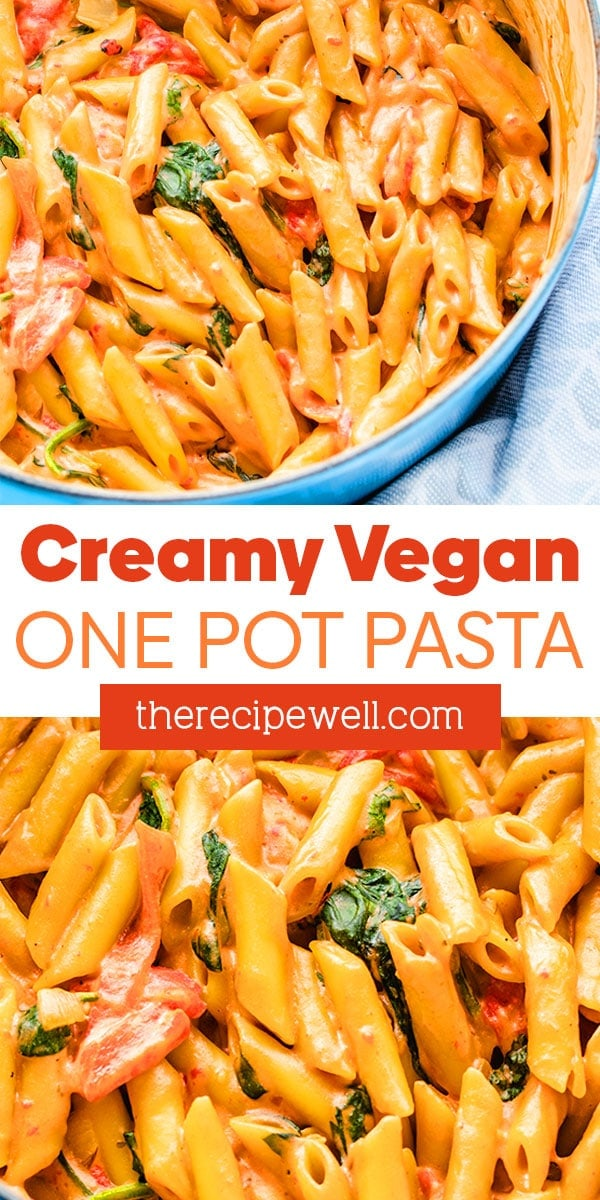 This vegan one-pot pasta is made with roasted red peppers, spinach and a beautiful, creamy cashew rosé sauce. You can have this on the table in about 30 minutes! FOLLOW The Recipe Well for more great recipes!  #creamy #simple #easy #weeknight #dinner   via @therecipewell