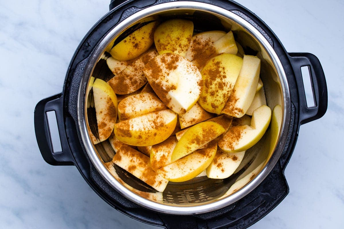 sliced apples and cinnamon in an Instant Pot