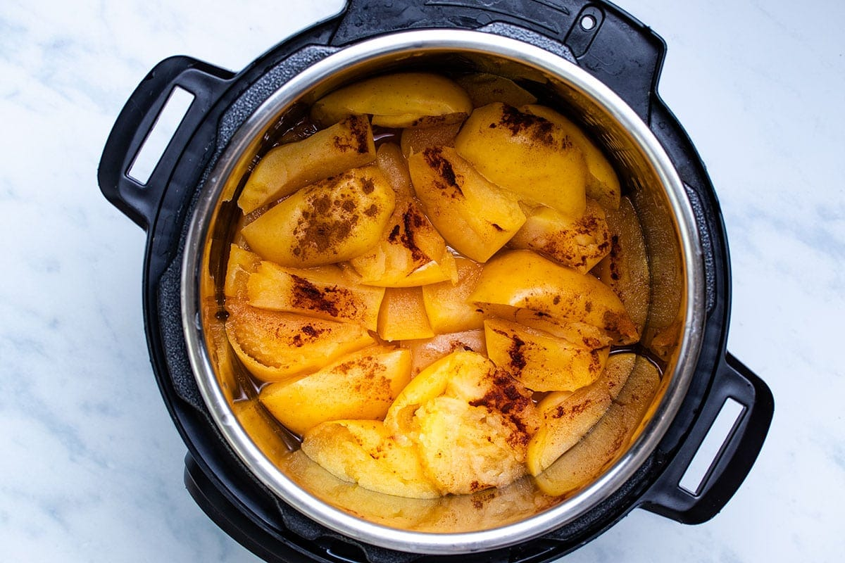 pressure-cooked sliced apple with cinnamon in an Instant Pot