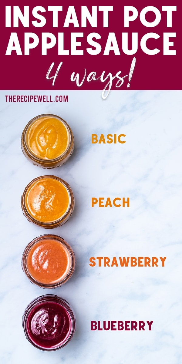 You need just 3 ingredients to make Instant Pot Applesauce. Add peach, strawberry or blueberry for a fun flavour twist. It's perfect as a healthy snack or dessert with no added sugar!  #easy #nosugar #unsweetened #withpeels #healthy  via @therecipewell