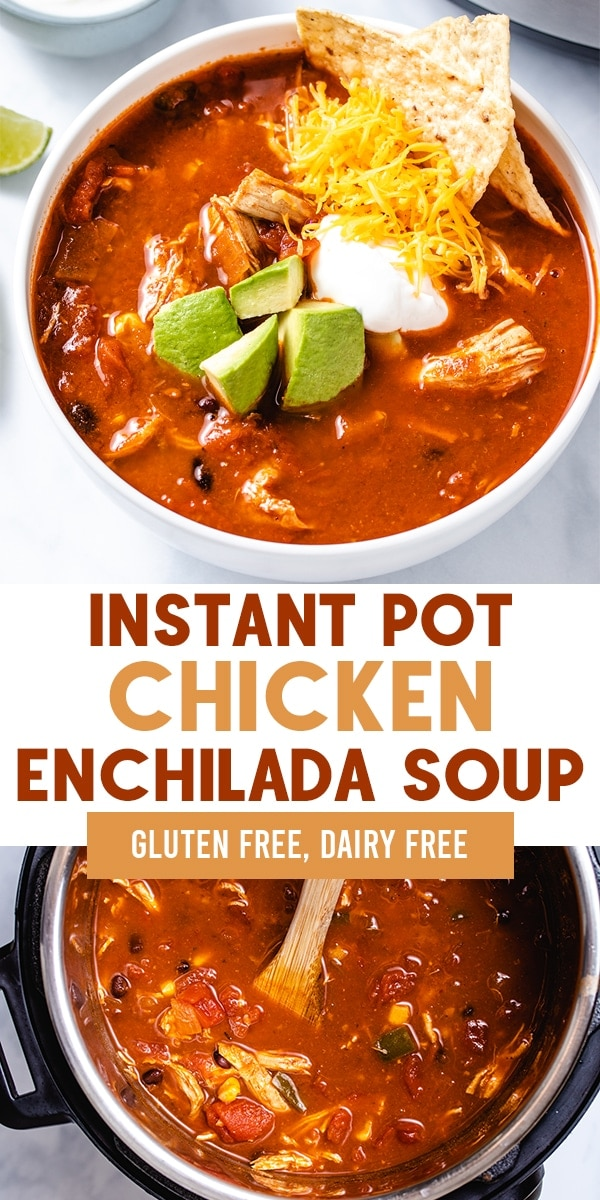 Instant Pot Chicken Enchilada soup is a healthy meal, made with two chicken breasts along with common pantry ingredients and spices. Gluten and dairy free! FOLLOW The Recipe Well for more great recipes!  #easy #healthy #pantrymeal #dinner #glutenfree #dairyfree via @therecipewell