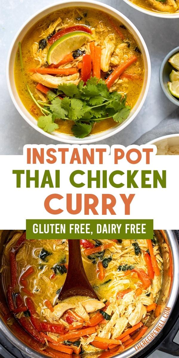 Packed with amazing flavour and wholesome ingredients, this Instant Pot Thai Chicken Curry will become a regular on your dinner rotation. FOLLOW The Recipe Well for more great recipes!  #easy #healthy #dinner #pressurecooker  via @therecipewell