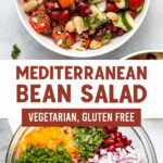 Pinterest graphic for mediterranean bean salad with two photos with title text in between the pictures