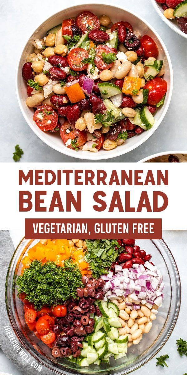Mediterranean Bean Salad is a fresh and healthy side dish, made with 3 types of beans, a delicious vinaigrette, tons of vegetables and fresh herbs. It's perfect for meal prep, potlucks and as a side dish during grilling season. FOLLOW The Recipe Well for more great recipes! via @therecipewell