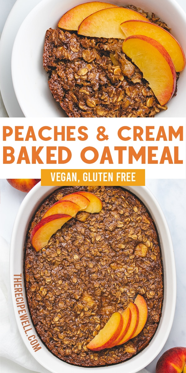 This Vegan Peaches and Cream Baked Oatmeal is the best way to start your day. Rolled oats, cashew cream, cinnamon and peaches are a match made in breakfast heaven. Make this baked oatmeal for meal prep or to feed a crowd at brunch.  via @therecipewell