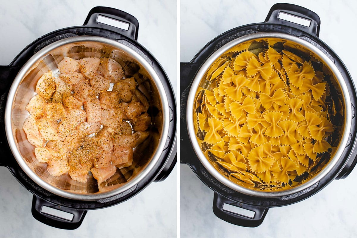 A two picture collage showing the uncooked chicken and pasta being added to the Instant Pot