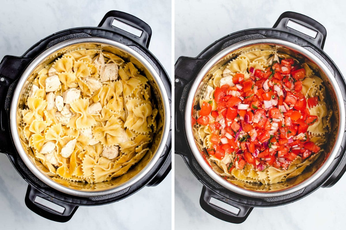 A two picture collage showing the cooked chicken and pasta, then the bruschetta topping being added on top
