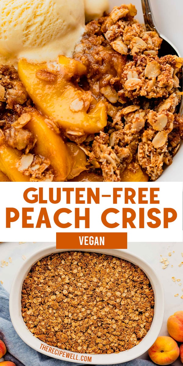 Gluten-Free Peach Crisp is a delicious way to use fresh seasonal peaches. With a generous amount of topping made from rolled oats and almond flour, you will love this summer dessert topped with vanilla ice cream! via @therecipewell