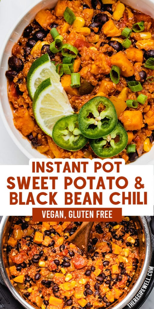 a two-photo Pinterest collage of Instant Pot Vegan Chili with text overlay of the recipe title