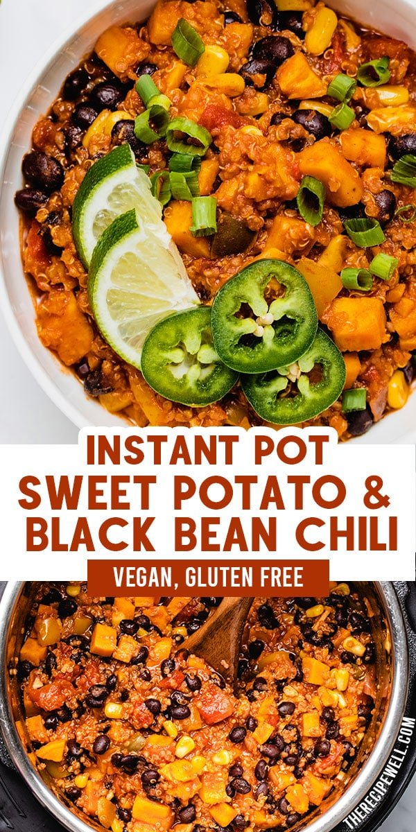Instant Pot Vegan Chili is an easy, one-pot meal that your entire family will love. Made with sweet potatoes, black beans, quinoa and colourful vegetables, this chili is ideal for meal prep! via @therecipewell