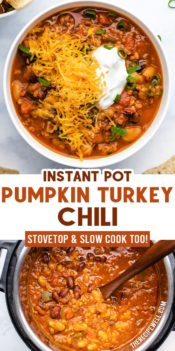 This Instant Pot Pumpkin Turkey Chili has amazing smoky flavour and a thick, hearty texture from the pumpkin purée. It's the ultimate fall comfort food that happens to be healthy too! Make it for meal prep or serve it with corn chips and lots of garnish for a fun family meal.  via @therecipewell