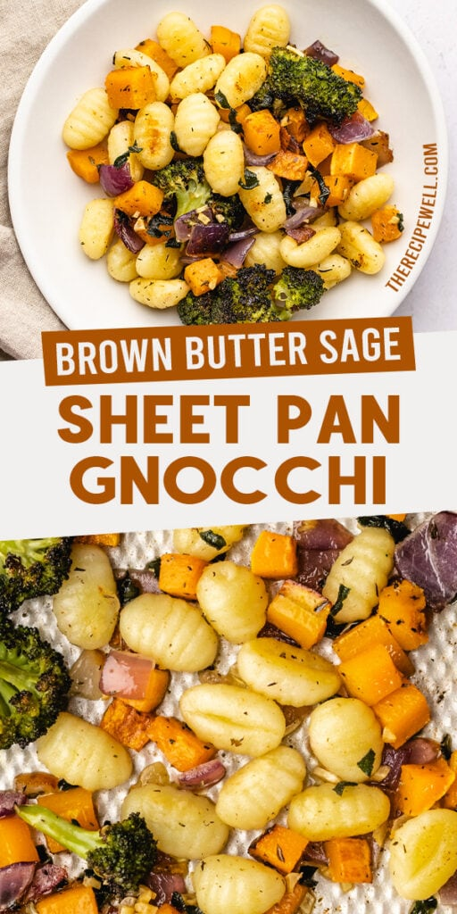 "A two-photo collage for Pinterest with text overlay: ""brown butter sage sheet pan gnocchi"""