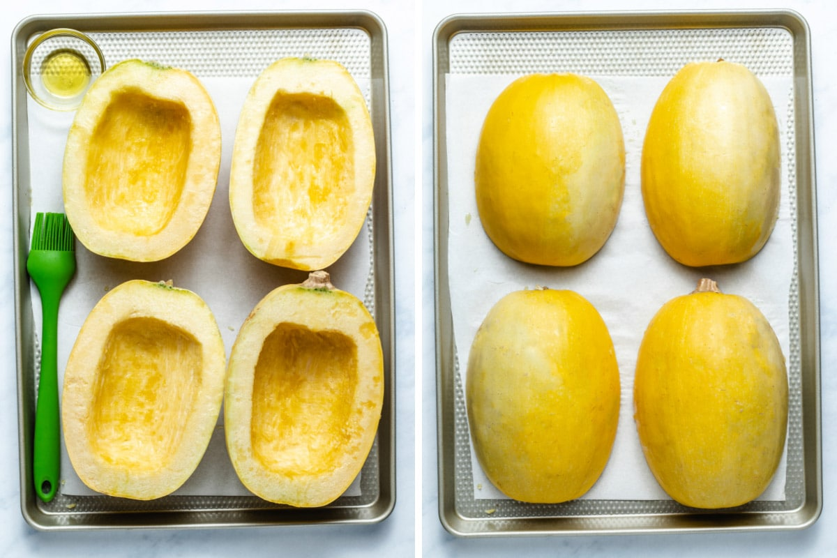 A two photo collage showing spaghetti squash being brushed with olive oil and flipped face down on a sheet pan.