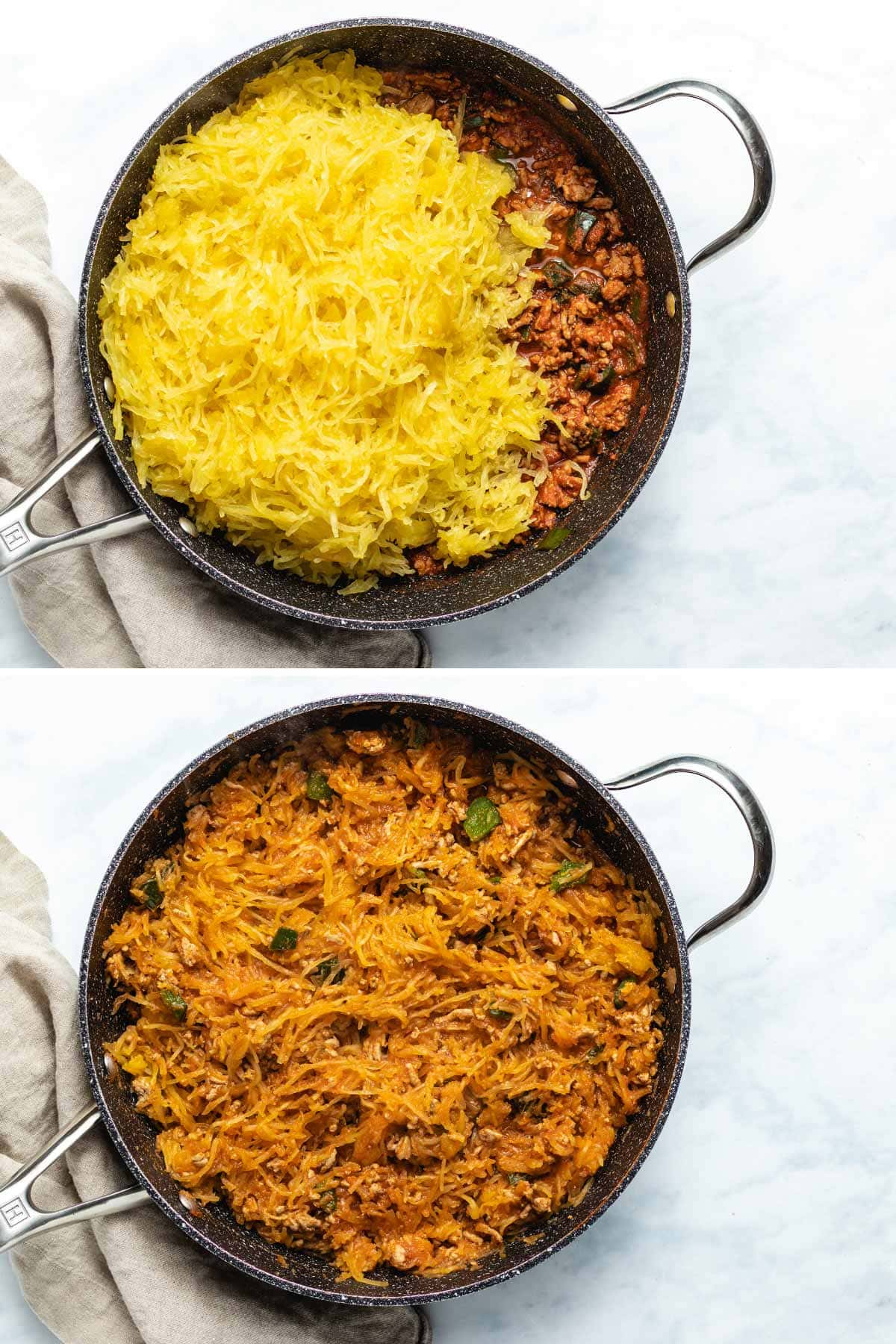 A two photo collage showing spaghetti squash being added to taco filling in a black skillet, then mixed together.