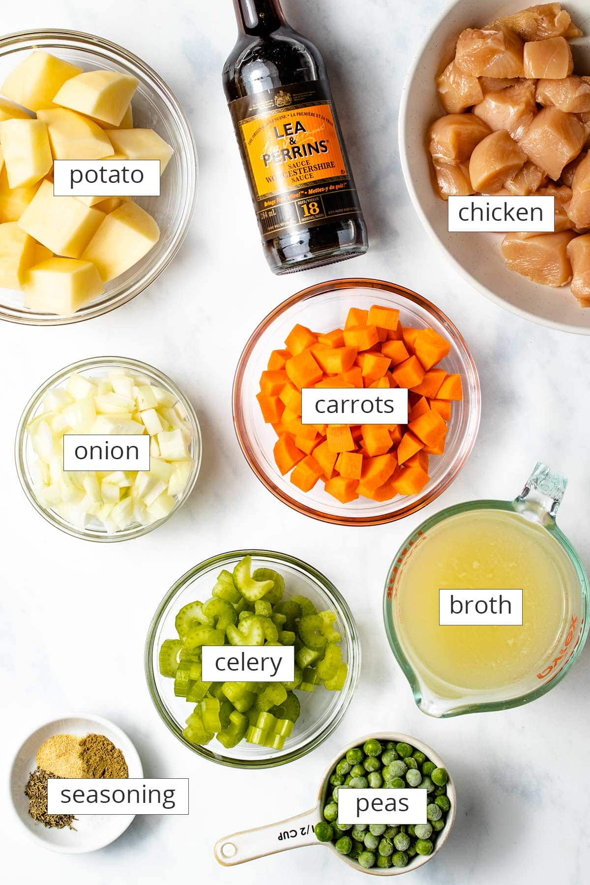 The main ingredients for Instant Pot Chicken Pot Pie viewed from overhead labeled with text overlays.