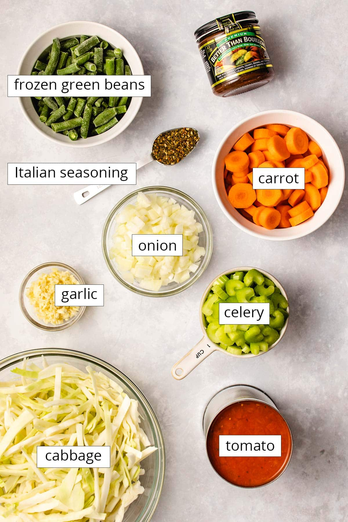 Ingredients for Instant Pot Cabbage Soup viewed from overhead.