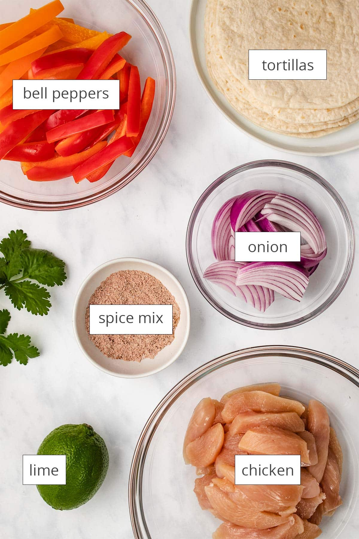 Labelled ingredients for Instant Pot Chicken Fajitas viewed from overhead.