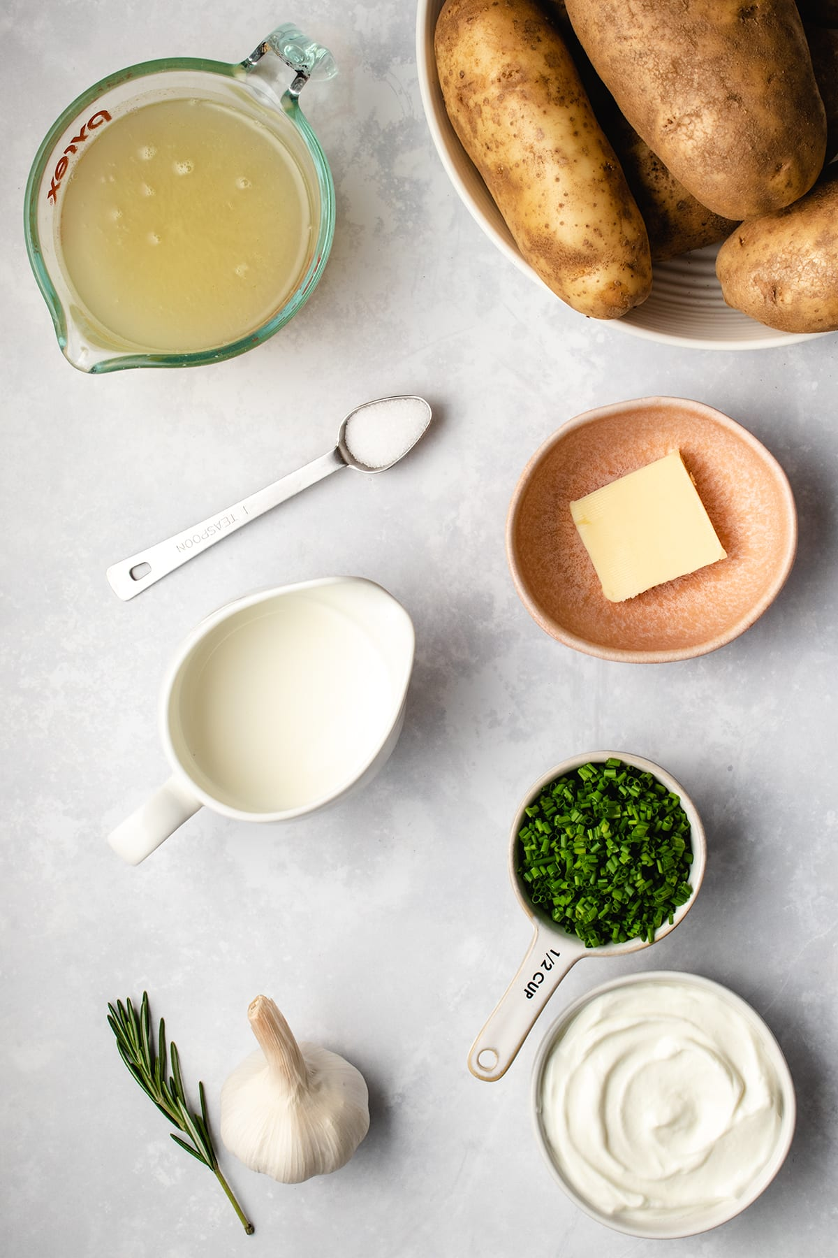 Ingredients needed to make Instant Pot No-Drain Mashed Potatoes viewed from overhead.