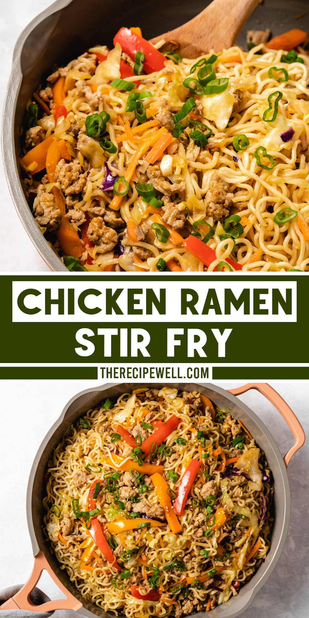 Transform your ramen noodles into this delicious Chicken Ramen Stir Fry. This easy meal is made with ground chicken, fresh vegetables and a homemade sauce. via @therecipewell